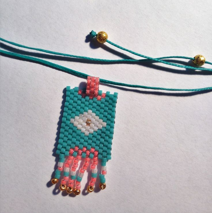 Turquoise Seed Bead pendant with adjustable length, Spring jewel,Tribal necklace,Bohemian style,Diamond pattern,Made in Greece,Gifts for her by SouSouHandmadeArt on Etsy