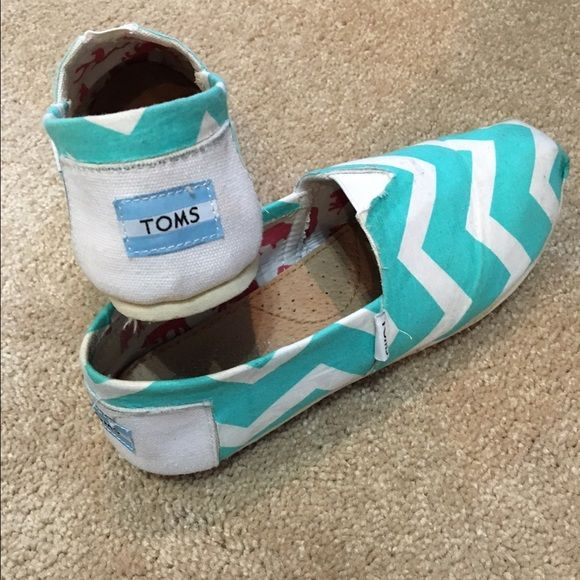 Mint Chevron TOMS Handmade Chevron print Toms in mint green. They fit a 7-7.5. Bought from a company that takes white TOMS and covers them how you like TOMS Shoes Espadrilles