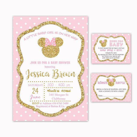 Minnie Inspired Baby Shower Invitation  Book for Baby