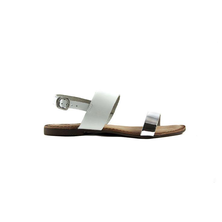 Sandalias planas en blanco y plata, muy bonitas, ligeras y cómodas, ajustadas