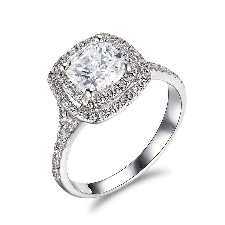 2.24 CT Cushion Cut Diamond Double Halo Engagement Ring 14K White Gold Over #RegaaliaJewels #HaloEngagementRing #EngagementWeddingAnniversary