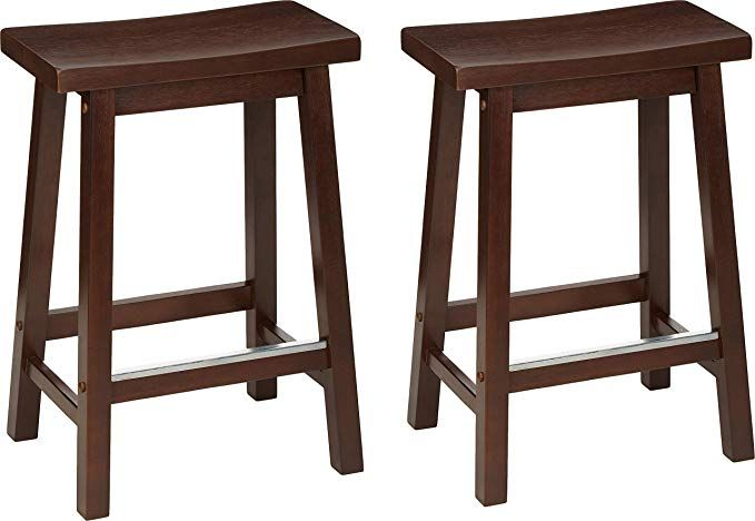 Amazonbasics Classic Solid Wood Saddle Seat Kitchen Counter Stool With Foot Plate 24 Inch Walnut Set Of 2 Kitchen Counter Stools Counter Stools Solid Wood