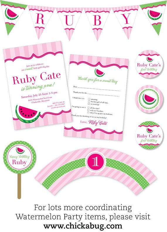 Watermelon party  Personalized DIY printable sign by Chickabug, $8.00
