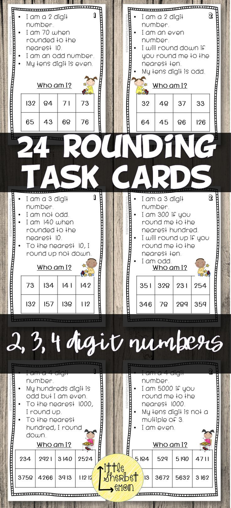 For a fun, differentiated and engaging way of practising rounding whole numbers, look no further! Included in this package are 24 Who am I? task cards. 8 using 2-digit numbers, 8 using 3-digit numbers and 8 using 4-digit numbers.