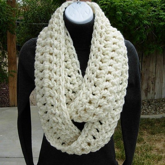Hand-crocheted Gifts Soft And Cozy Chunky Infinity Scarf Ivory