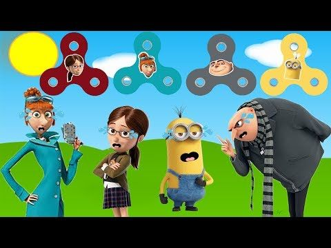 Despicable Me 3 FIDGET SPINNERS Baby Learn Colors for Kids Finger Family Nursery Song Minion Gru - YouTube