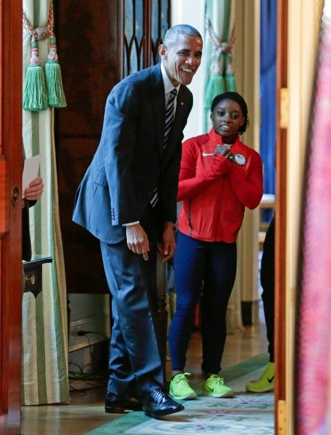 President Obama and Olympian Simone Biles.