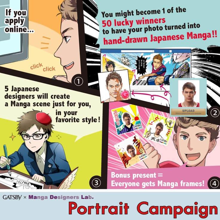 get your portrait drawn in Japanese comic style.