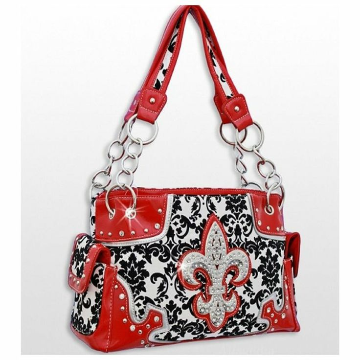 {Fleur de Lis} Red Western Style Damask Print Fleur De Lis Purse Conceal and Carry Purse #fleurdelis