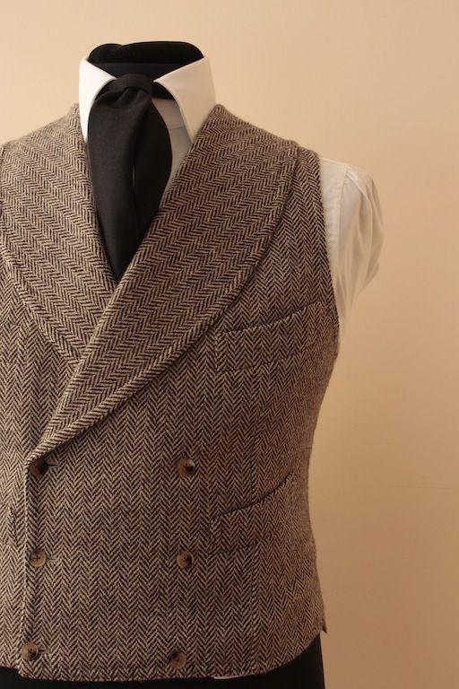 Gilet doppio petto in tweed