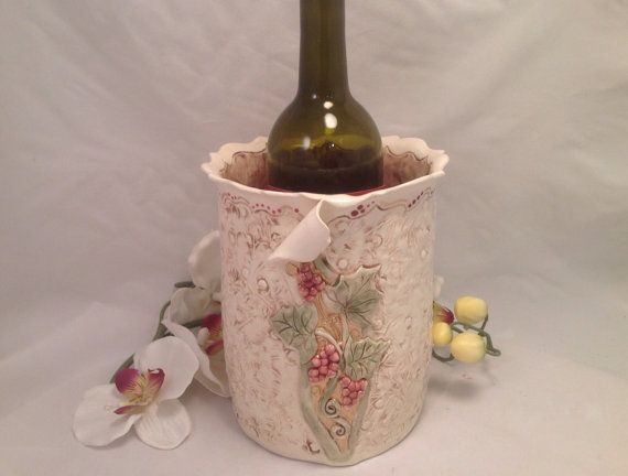 Wine chiller with grape vine/wine by joycepottery on Etsy, $75.00