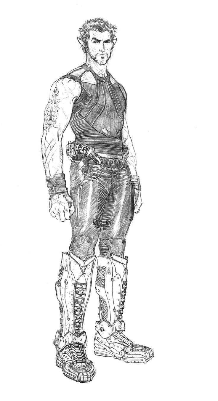 Original sketch for Channing Tatum's character Caine Wise in Jupiter Ascending by Steve Skroce