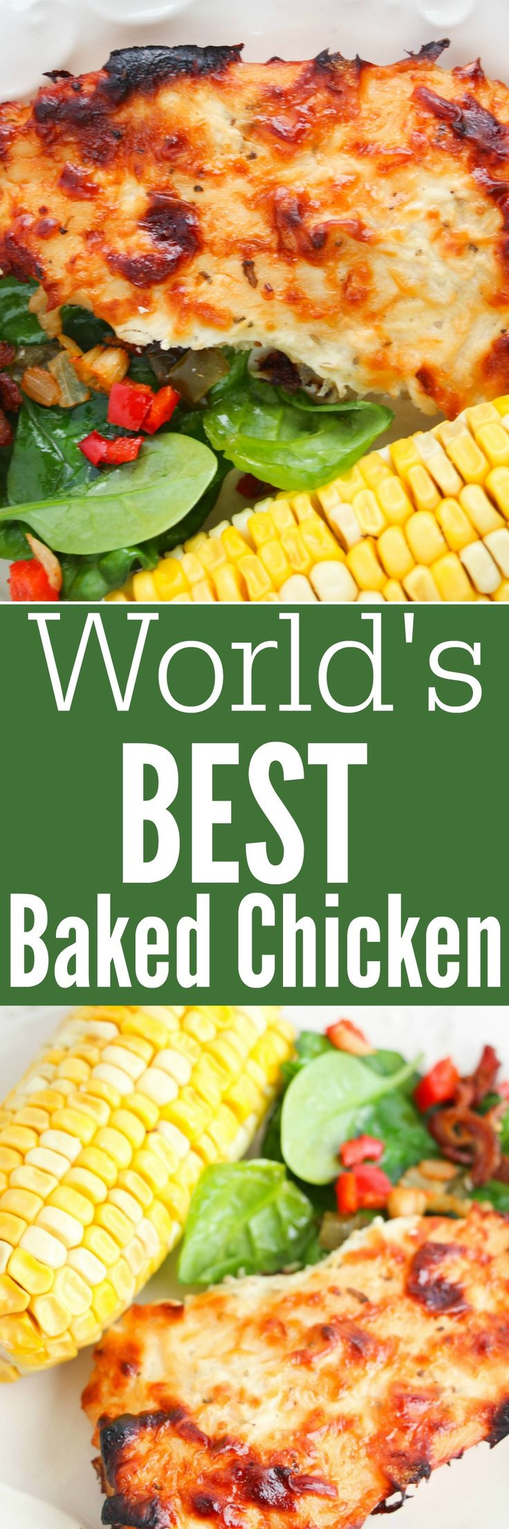 World's Best Baked Chicken Recipe - easy to make and a quick family favourite. Best Chicken Recipes for family friendly meals!