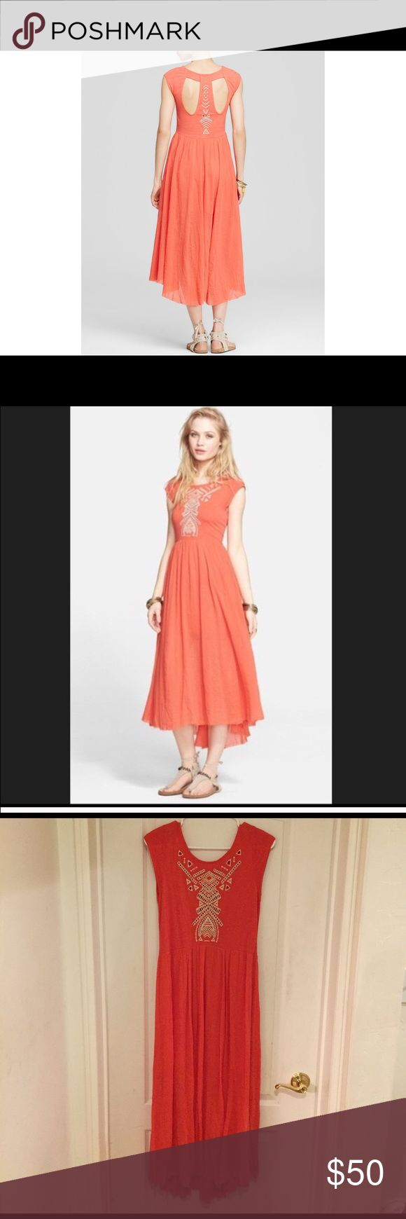 Free People Tangerine Flowy Summer Dress Beautiful, flowy summer dress with gorgeous back design. Perfect for Coachella, summer brunch or really chic farmers market outfit. RUNS BIG, more like a medium. Free People Dresses Midi