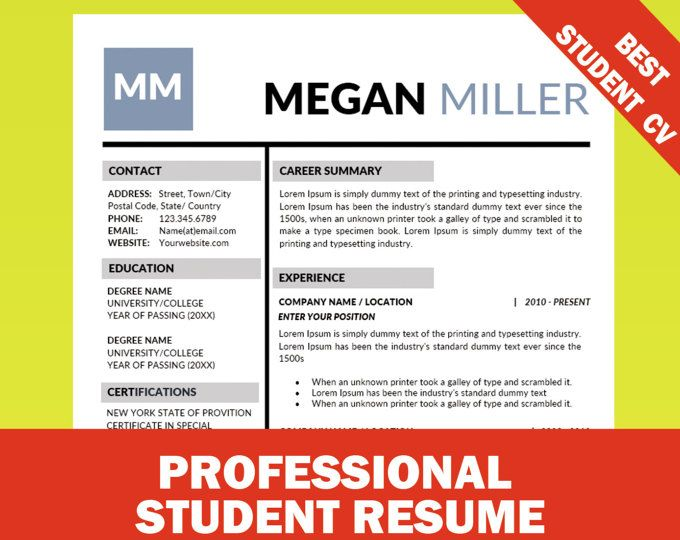 Student Resume Template, Internship Resume, CV Template + Cover Letter, College CV, Graduation Modern Resume Templates, Academic Resume