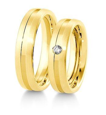 Breuning Trouwringen   Inspiration collectie gouden ringen   5,5mm briljant 0.06ct verkrijgbaar in 8,14 en 18 karaat   48041530 / 48041540 OOK in wit geel en rood goud verkrijgbaar of in 2 kleuren goud #trouwringen #breuning