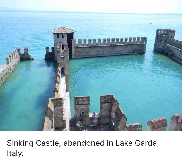 Sinking Castle, Abandoned In Lake Garda, Italy