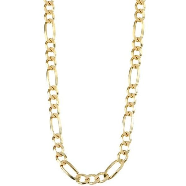 Necklace features a chunky figaro chain design Men's jewelry is crafted of silver with 100 mils of 14-karat yellow goldplating Update your stylish wardrobe wit…