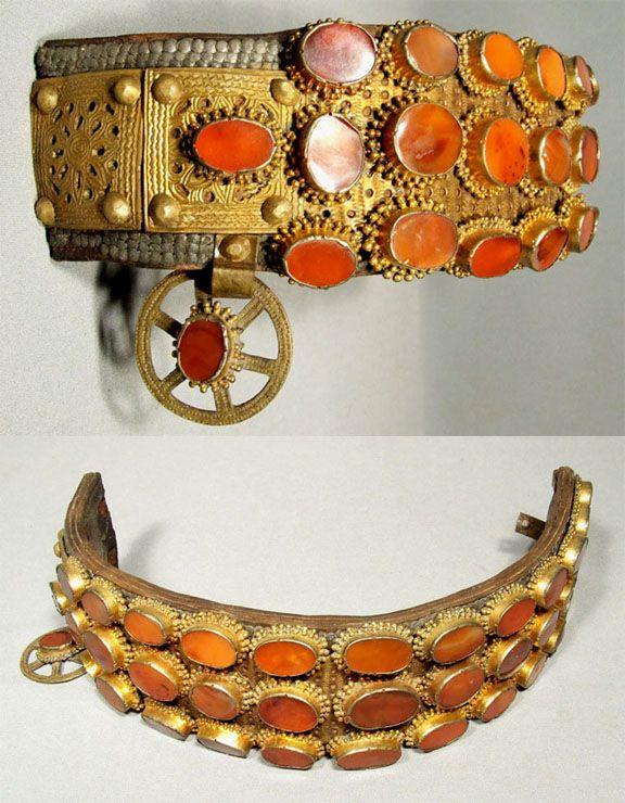 Turkish Ottoman Belt for Sword Yatagan | Gilt silver setting mounded on a gild…