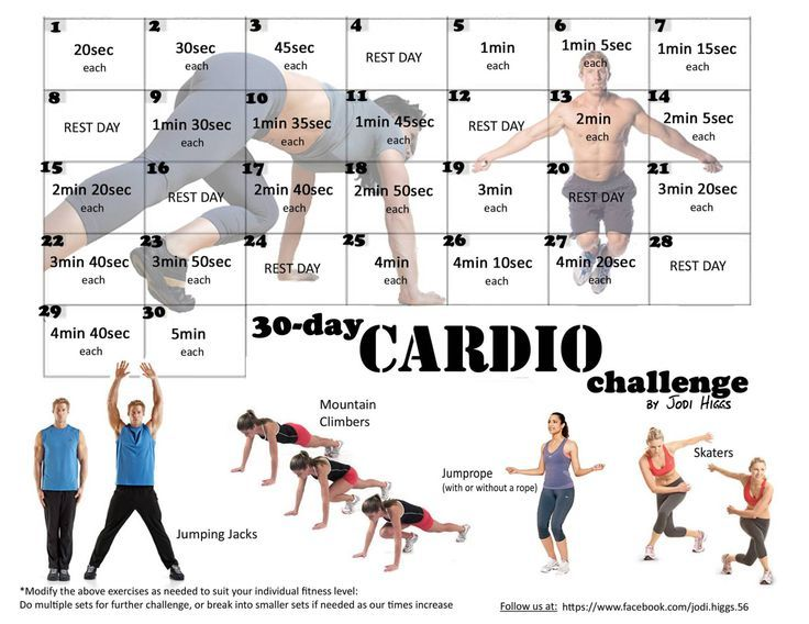30 day cardio challenge for beginners - Google Search