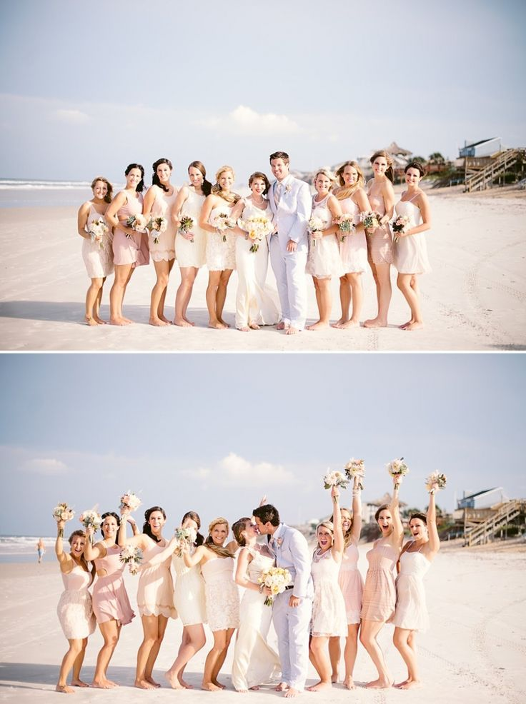 Bride in satin, bridesmaids in blush dresses celebrate by the sea with bouquets of peach and sand hued roses, dahlias, sea grass, succulents, dusty miller, silver brunia and ranunculus.