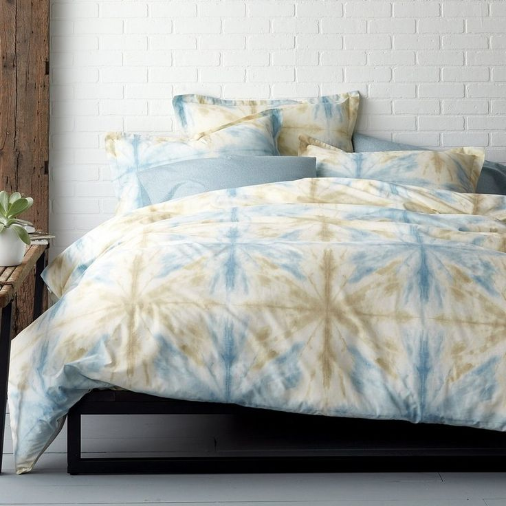 domino By The Company Store® Synergy Organic Percale Bedding - Tie-dyed stars float across our organic bedding in restful shades of earth and sky. Good for you and the planet, this original duvet cover is woven of smooth, 100% certified organic cotton percale.