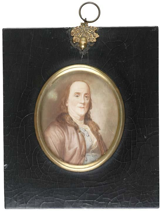 Lot: 365: BENJAMIN FRANKLIN, Ivory Portrait Miniature, 1800, Lot Number: 0365, Starting Bid: $3,000, Auctioneer: Early American History Auctions, Auction: Autographs-Coins-Currency-Americana, Date: February 12th, 2006 CST
