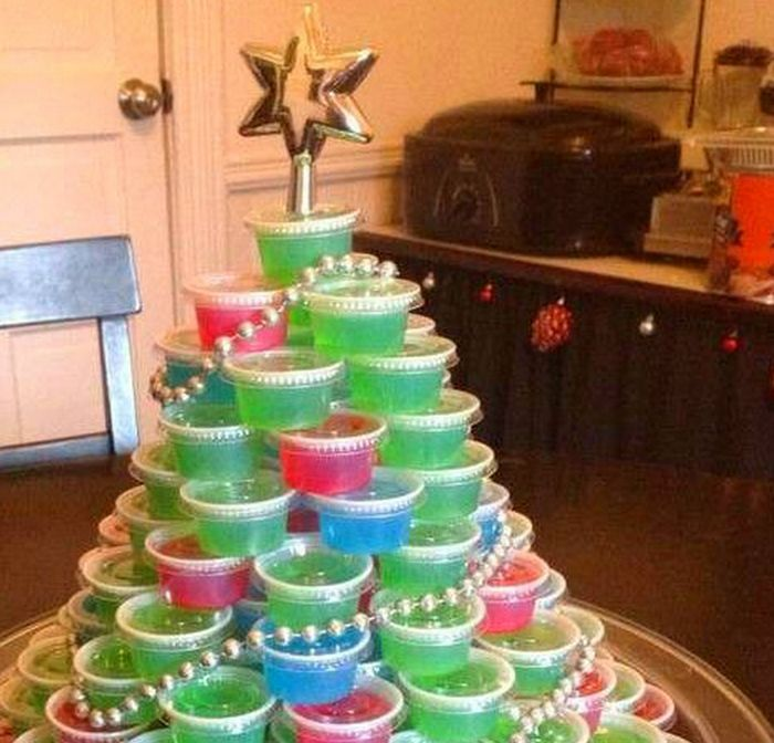 This Jello Shot Christmas Tree will look amazing on your Christmas table and it's the ultimate AO holiday treat!