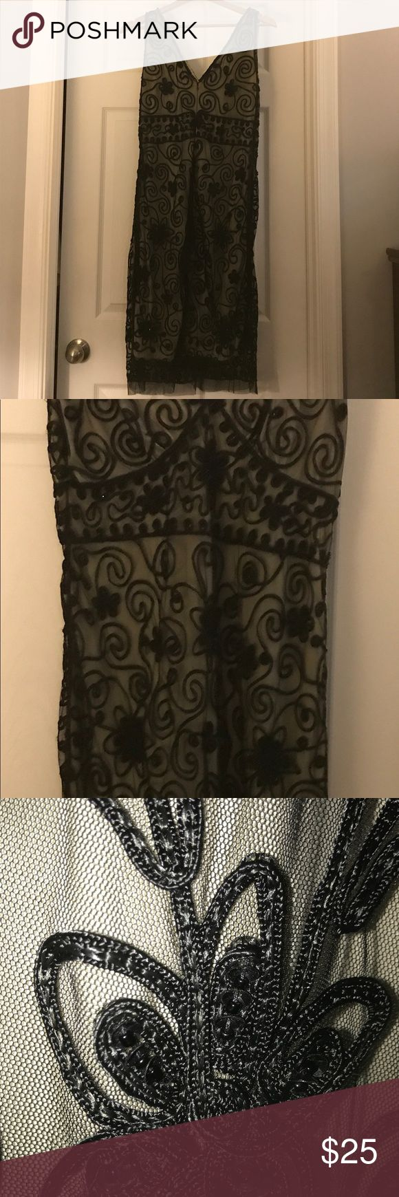 Black Sequin dress Black sequin cocktail dress with scroll pattern netting Pisarro Nights Dresses