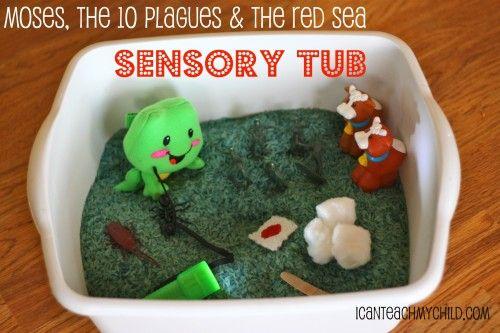 Bible + Sensory PlaySensory Table, Red Sea, Sensory Tubs, Sunday Schools, Sea Sensory, Bible Sensory, Bible Story Ideas, Sensory Play, Sensory Ideas