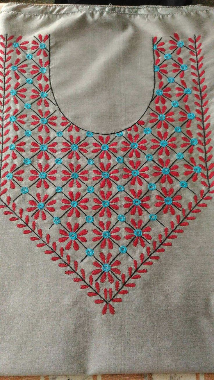 embroidered with basic hand embroidery stitches.