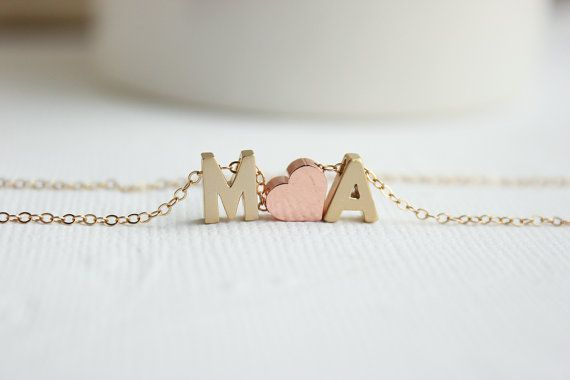 Gold Initial Necklace Couples Necklace Love by PROJECTDAHLIA, $33.00