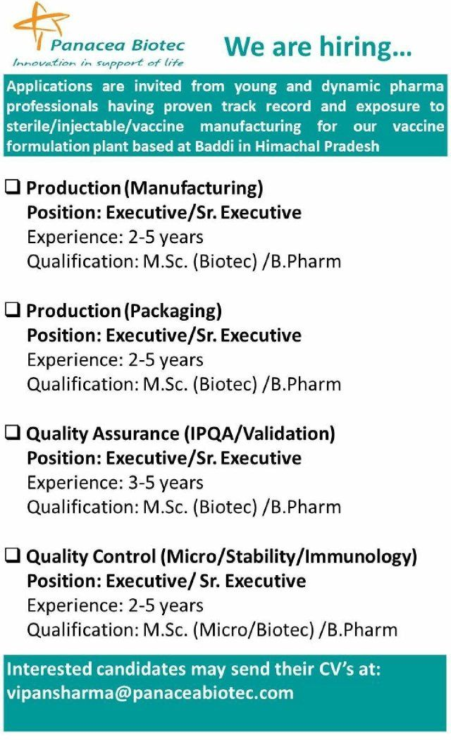 Panacea Biotec Hiring Multiple Positions In Production Qa Qc Micro Departments Pharma Jobs And Walk In Interviews Ph Positivity Jobs For Freshers Pharma