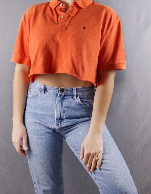 eedd7414 Custom Cropped Orange Tommy Hilfiger Polo. Distressed. Edgy. Grunge. Grungy  90s style