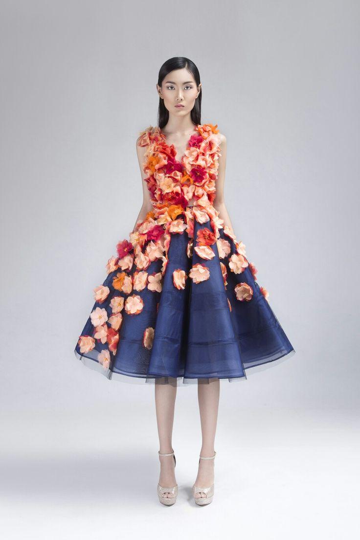 Hundreds Hand Cutting Silk organza flower Dress, #soknancambodia #ss2017