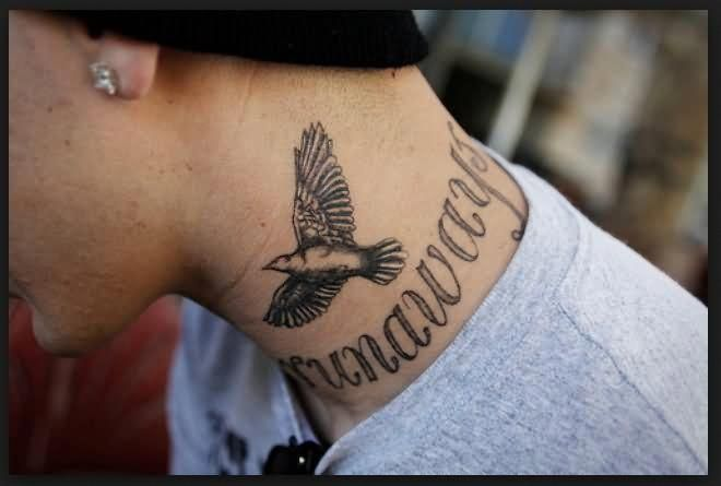 Black And Grey Flying Bird Tattoo On Man Side Neck Tattoosonneck Neck Tattoo For Guys Best Neck Tattoos Bird Tattoo Neck