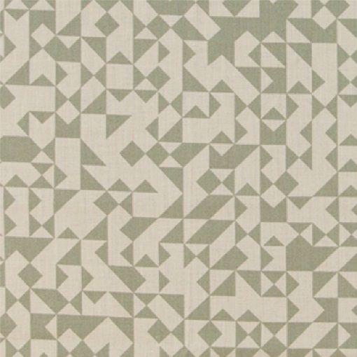 Bomuld sand/støvet grøn grafisk mønster