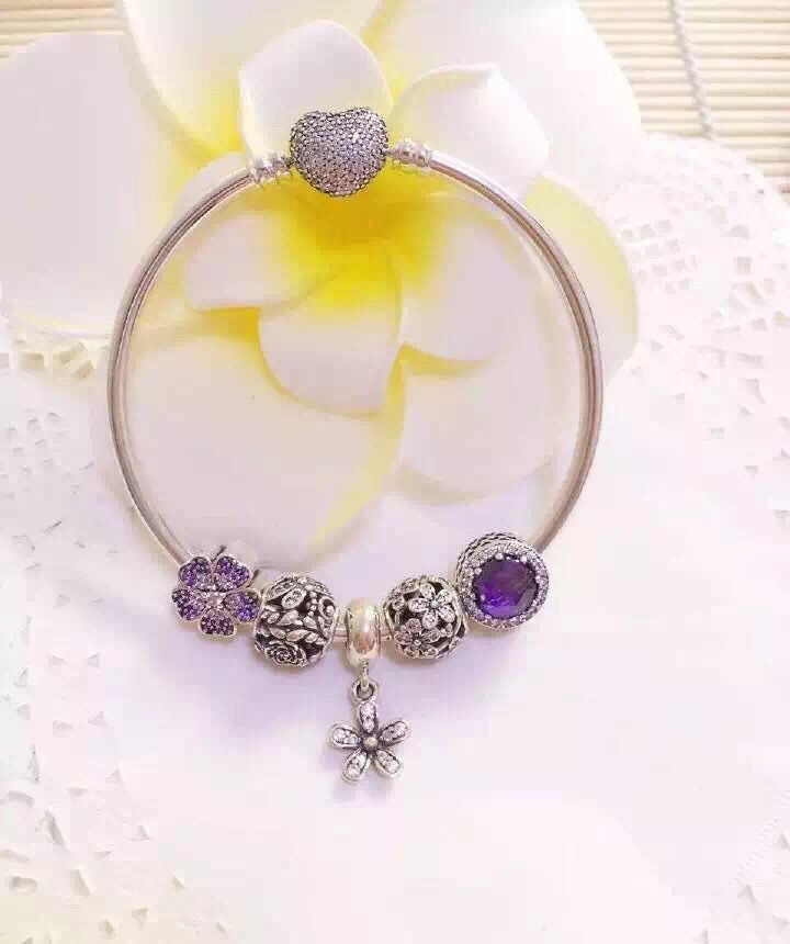 159 pandora bangle charm bracelet purple hot sale - Pandora Bracelet Design Ideas