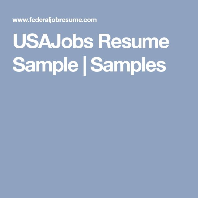 USAJobs Resume Sample | Samples