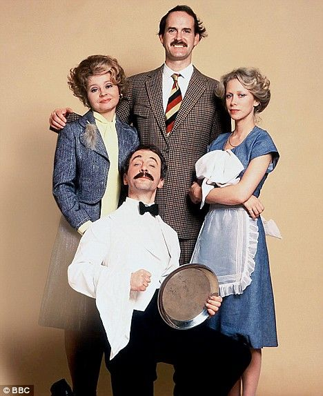 """Fawlty Towers: Basil, Polly, Manuel (from Barcelona) and Sybil.  Funniest Comedy ever! Episode """"The Germans"""", with Fire Alarm is the funniest 30 mins. of TV of all time."""