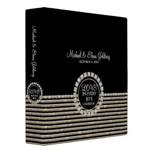 Art Deco Modern Horizontal Striped Wedding Set 3 Ring Binder