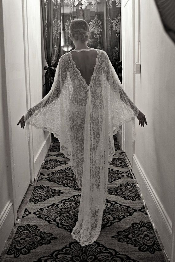 HM Sexy-Classy Bridal Lingerie to Wear on Your Wedding Night - French Lace Bridal Robe by Sarafina Dreams on Etsy