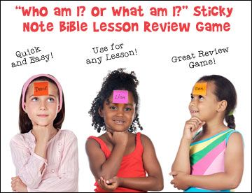 """Who Am I? or What am I"" Stick Note Bible Lesson Review Game - lots of learning/review game ideas on site"