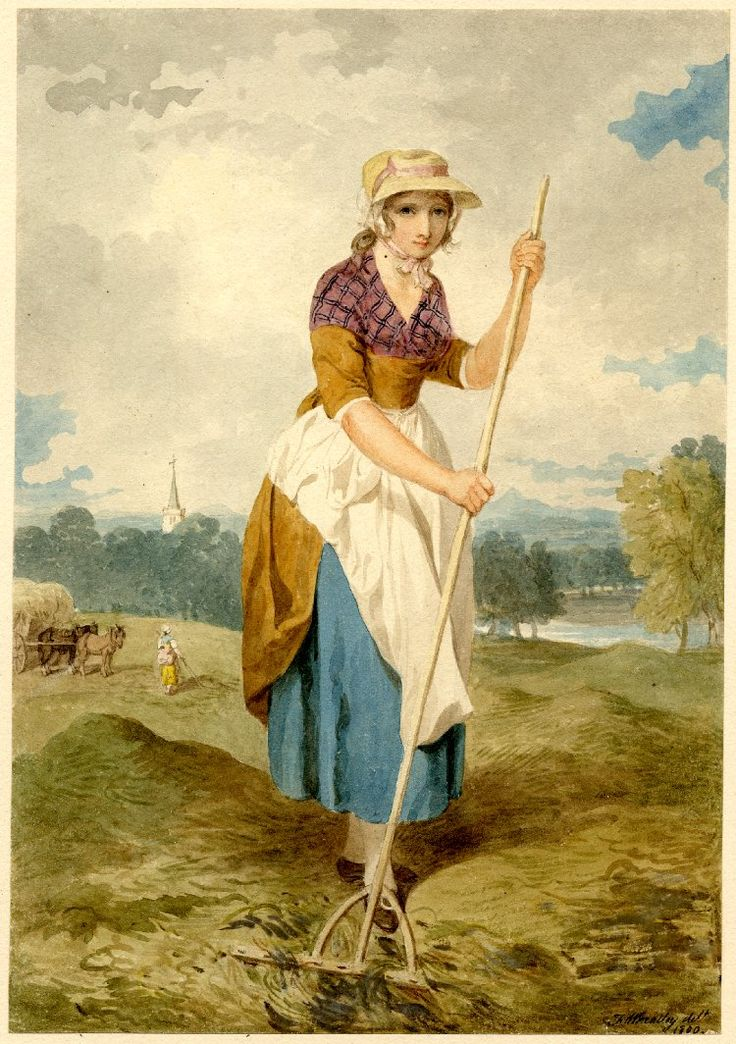 Haymaking; girl in a straw hat with white apron over her skirt, raking hay in a meadow which stretches away to a river r, a church spire rising above woods l, beyond another woman near two horses and a cart. 1800 Watercolour, touched with bodycolour