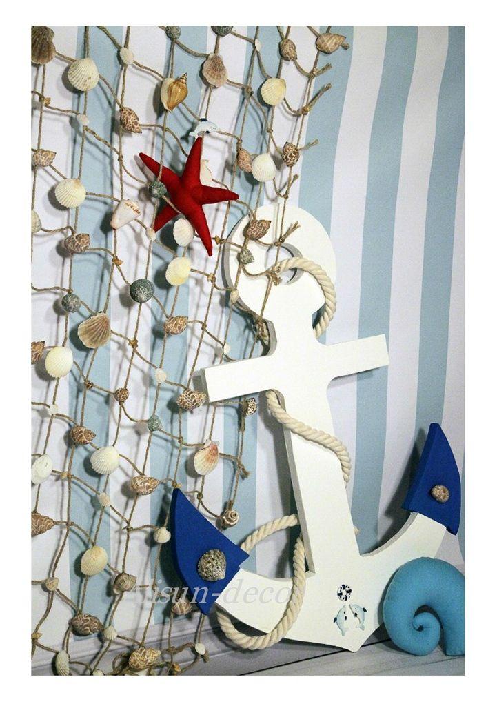 Anchor, fishing net, marine theme