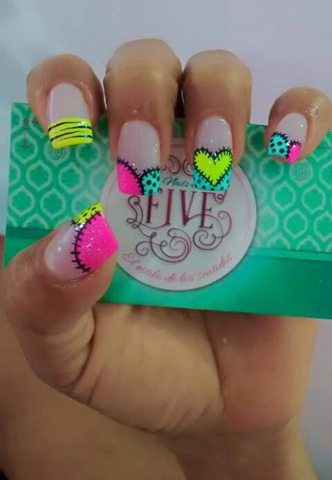 Patchwork and heart nail art design idea #nails