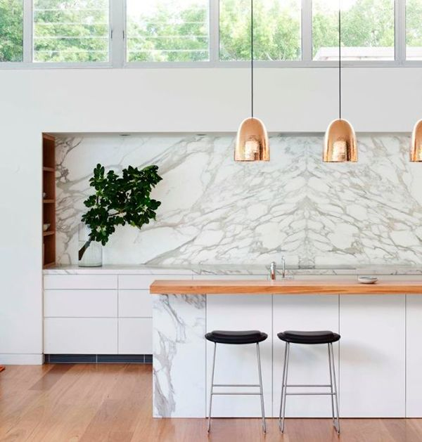 Rich & timeless kitchen elements....;white Marble & Gold, Copper or Brass materials...