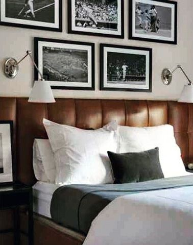 Bachelor Pad Mens Bedroom Idea With Leather Headboard