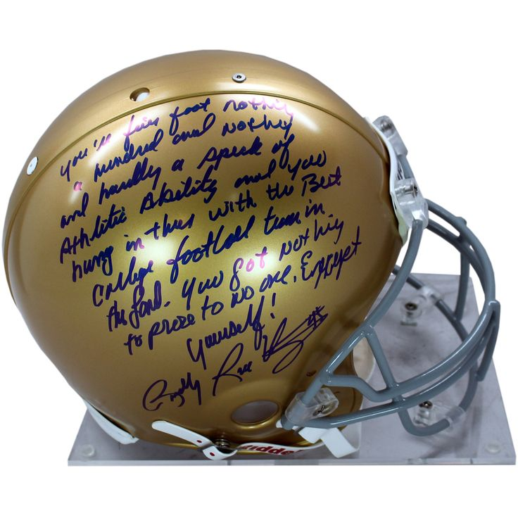 Rudy Ruettiger Signed Notre Dame Authentic Full Size Helmet w long 5 Foot Nothing insc - Rudy Ruettiger personally hand-signed this Notre Dame Authentic Full Size Helmet and inscribed With long 5 Foot Nothing. An undersized kid with over-sized dreams Rudy repeatedly was told he was too small to play football. While at Notre Dame Ruettiger was part of the scout team and on the last play of the final game of his senior year Rudy finally was put in. Ruettiger made the most of it recording a…