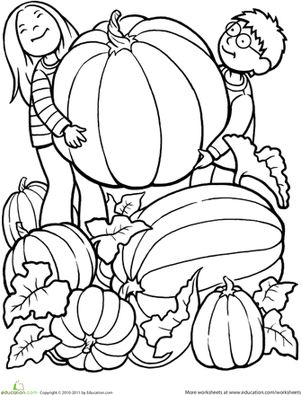 Fall Halloween Kindergarten People Worksheets: Giant Pumpkin Coloring Page